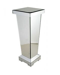60 cm  Mirrored Pedestal Side Lamp Table Plant Stand Telephone Pillar