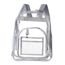 See Through Waterproof Clear Backpack Transparent Zip Bag for Security Gray