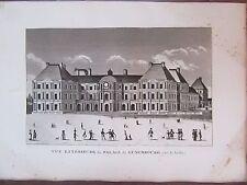 GRAVURE 1839 PARIS VUE EXTÉRIEURE  PALAIS DU LUXEMBOURG COTÉ JARDINS