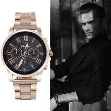 Mens Watches Roman Number Stainless Steel Analog Quartz Sports Dial Wrist Watch