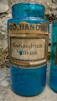 Pot à pharmacie verre bleu.  apothicaire. CORIANDRE. 1900.