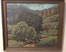 Vintage Painting Landscape Mountains Trees Oil on Canvas Carved Framed