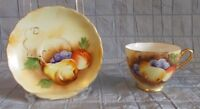 VINTAGE ENESCO TEA CUP & SAUCER HAND PAINTED FRUIT PATTERN (152)