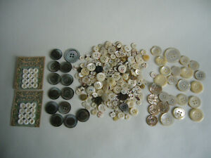 Vintage Antique Mother Of Pearl Buttons Assorted 9-35mm