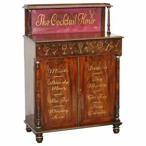 ANTIQUE VICTORIAN COCKTAIL DRINKS CABINET IN FLAMED MAHOGANY NICELY DECORATED