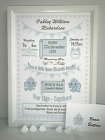 Personalised New Baby Gift Birth Details Print Boy Girl Christening Present