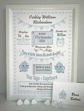 Personalised New Baby Gift Birth Details Print Boy Girl Christening Present