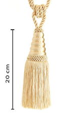 Raffhalter Quaste 20 cm mit Kordel 60 cm Light Gold  Gardinenhalter Jugendstil