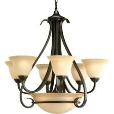 Progress Lighting Torino 6-Light Forged Bronze Chandelier with Tea-Stained Glass