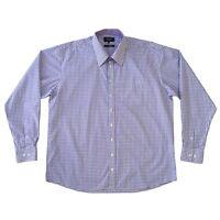 BOSIDENG Men's Shirt Size 2XL Blue And Plum Check Long Sleeve Casual Shirt