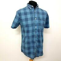 Primark Mens Denim Shirt Size Large Fitted Short Sleeve Check Mid Blue