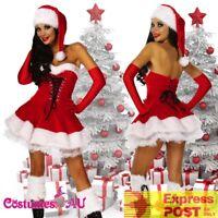 Deluxe Ladies Christmas Santa Costume Womens Mrs Claus Helper Fancy Dress + Hat