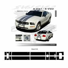 Ford Mustang 2005 to 2009 Gloss Black Bumper to Bumper Stripes Graphic Kit