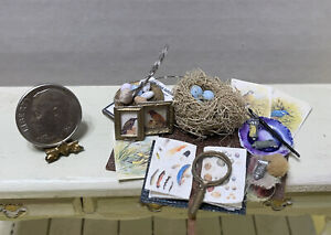 Artisan SJS Bird Lover Painting Book Nest Display Board Dollhouse Miniature 1:12