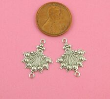 ANT SILVER BEADED FAN DROP CONNECTOR CHARM - 4 PC(s)