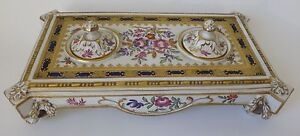 Booth's antique hand decorated INKSTAND retailed by Thomas Goode - choice piece