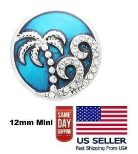Snap Jewelry Rhinestone Palm Tree & Ocean Waves Fits 18-20mm Ginger Style Charms