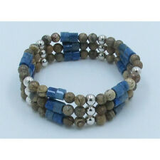 Triple Stack .925 Sterling Silver Denim Blue Lapis Jasper Stretch Bracelet