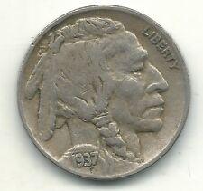 ERROR- VERY FINE 1937 D BUFFALO NICKEL COIN-TRIPLING OF DATE-MAY703
