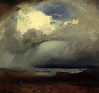 Oil painting carl rottmann - The Battlefield at Marathon storm landscape canvas