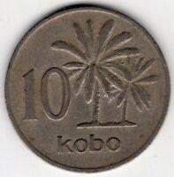 1973 NIGERIA 10 KOBO WORLD COIN NICE!