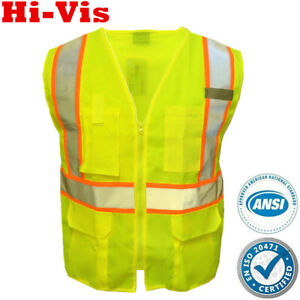 Safety Work Hi Vis ANSI Class 2 Reflective Tape Vest High Visibility Neon Green