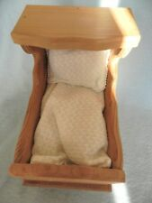 Precious Cargo Presents Vintage Child's Solid Wood Rocker Wooden Crib Baby Doll