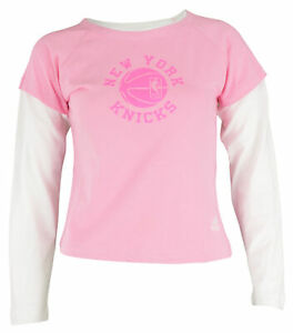 Adidas NBA Youth Girls New York Knicks Faux Layered Crew Neck L/S Shirt