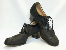 True Vintage 1930s-40s Womens Lace Up Granny Shoes 9Aa Black Mesh Patent Leather