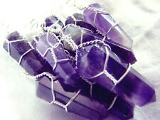 LOT 3 Amethyst Chakra Crystal Wraps Double Point PENDANT & NECKLACE Handmade