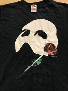 Vintage Phantom Of The Opera 1986 Mask & Rose Graphic T-Shirt Medium No Reserve!