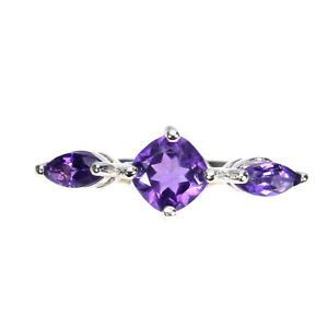 Unheated Cushion Amethyst 6mm 14K White Gold Plate 925 Sterling Silver Ring 6