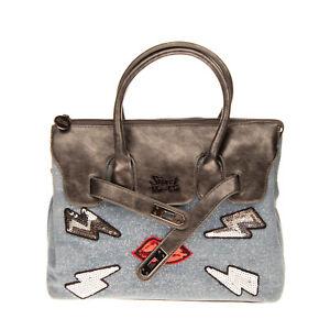 SECRET PON-PON Shiny Denim Tote Bag Sequins Lips & Lightning Bolts Zip Closure