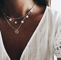 Boho Women Multi-layer Round Circle Pendant Wave Silver Chain Necklace Jewelry