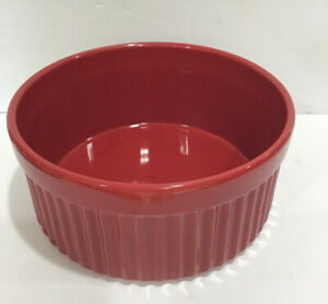 Chantal Bakeware Handcrafted Red Ribbed Casserole Baking Dish Bowl Holds 10 Cups