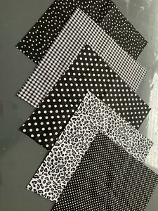 Black 5 Piece Fabric (25x25 ) -100% cotton fabric for Patch Work/craft.,
