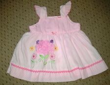 GORGEOUS BABY GIRLS PINK SUMMER DRESS WITH POLKA DOTS & FLOWERS AGE 0-3 MONTHS.