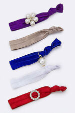 Purple, Gray, Royal Blue, White and Red Crystal and Pearl Hair Ties 5 piece
