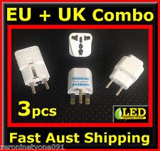 AUS NZ to  EU EURO UK Combo Power Plug Travel Adaptor Converter 3 Types