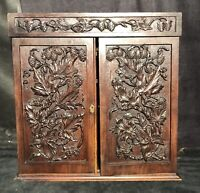 antique Hand Carved black forest pharmacy cabinet furniture 19th cent Goth HOPS