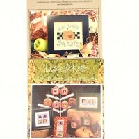 Lizzie Kate Cross Stitch Charts Give Thanks & Fall Crazy Lot Of 2 Halloween