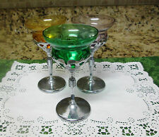 3 Art Deco Colored Glass Cocktail Glasses within Chrome Stem Holder 1950's
