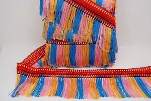 COLOURFUL TASSEL TRIM FRINGE 5INCH WIDE 11 METRE PACK,  RED,GOLD,PINK and BLUE