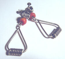 MID CENTURY Modernist STERLING 925 Hand Wrought SPRING Screw Back CORAL EARRINGS
