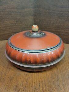 Vintage 3pc Round Excel Red/orange Metal Sewing Box/Tin