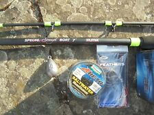 Silstar 7ft 20-30lb super boat and reel combo plus fee line and feathers.