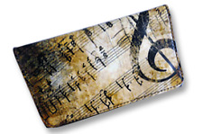 Tobacco Case Pouch Synthetic Leather Wallet Bag Smoke Rolling Brown Music Notes