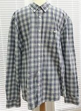 """EASY"" MEN'S SHIRT, BUTTON DOWN COLLAR, CHECK, BLUE, SLIM FIT, SIZE L-USED"