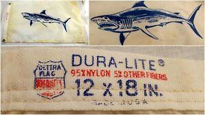 "Vintage Dura Lite Shark Boat Pennant Nylon Flag 12"" x 18"" Yacht Fishing Boating"