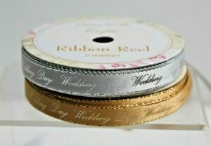 Wedding Day Printed Ribbon * Silver or Gold Choices * 5 Metres x 10mm Reels